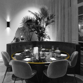 restaurant ronde tafel goud, restaurant round table gold